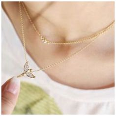1Day Sale! Necklace Color: Gold or Silver (choose color) Quantity: 2in1 layered Condition: New Material: Zinc Alloy Jewelry Necklaces