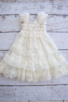 ivory flower girl dress lace flower girl dress by PoshPeanutKids, $38.00