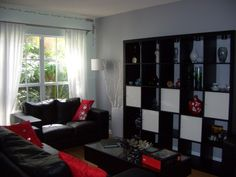 red,black,and gray family room ideas | Black, Red and Gray Living Room, We already had a black and red color ...