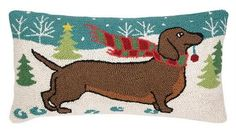 "Hooked Pillow Holiday Doxie 12"" x 22"" #dachshund"