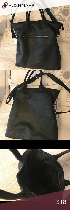 Black faux leather bag Great black faux leather bag with handle and strap for versatility. Gently used and in excellent condition! Excellent for work or school. Lightweight so easy to fill!! H&M Bags