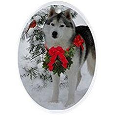 244cdad2aec Siberian Husky Christmas - Oval Holiday Christmas Ornament Husky