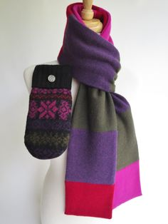 Cashmere scarf and sweater  mitten/felted wool mitten set upcycled, ladies M, ultrasuede palms, olive/bright pink/red/purple/black by MooseMountainMittens on Etsy https://www.etsy.com/listing/474977443/cashmere-scarf-and-sweater-mittenfelted