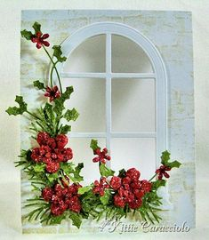 Poinsettia, Pine and Holly Window Garland