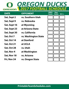 Pac 12 Football College Team Schedules