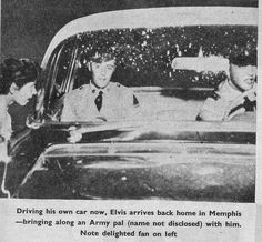 May 31, 1958 - Elvis is pictured behind the wheel of his Lincoln Continental with his Army buddy and friend Donald Rex Mansfield in the passenger seat. They were on a two-week leave after eight weeks of basic training at Fort Hood, TX. Two years later Rex Mansfield married Elvis's secretary and girlfriend Elisabeth Claudia Stefaniak - whom Elvis and Rex had met in Germany - in Union City, Tennessee on June 4, 1960.