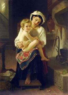 William Adolphe Bouguereau - Young mother gazing at her child (1871)