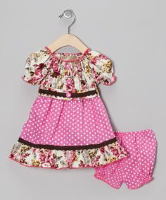 This pleasantly pretty pairing shows off a flattering combination of colors and prints on play-friendly silhouettes. The dress has a tie around the waist and each piece is equipped with elastic in all the right places.