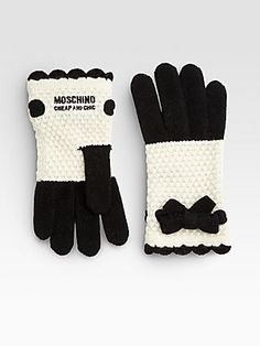 Moschino Bow Crochet Gloves