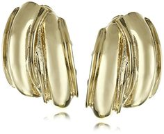 Anne Klein Gold Tone Button Clip-on Earrings * Want to know more, click on the affiliate link Amazon.com.