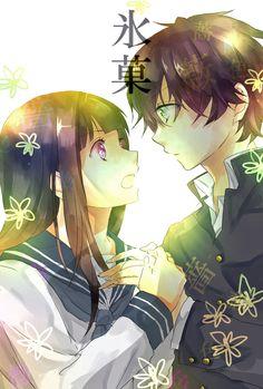 Chitanda & Oreki, Hyouka fanart. Watashi, kininarimasu! I'm curious!--when Chitanda says that, Oreki is required to think