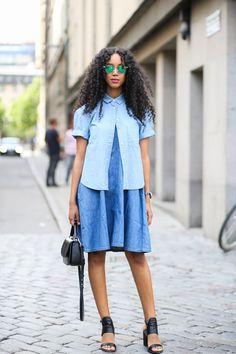 Fashion blogger Salem Indrias did double denim the 2015 way at Stockholm Fashion Week