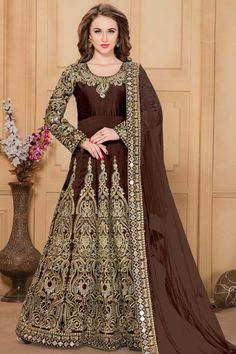 Brown Silk And Taffeta Anarkali Churidar Suit With Embroidered Dupatta   http://www.andaazfashion.co.uk/salwar-kameez/anarkali-suits