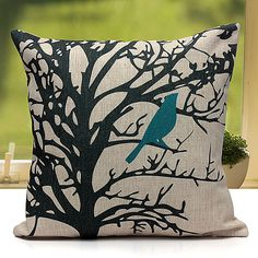 FEDERA-CUSCINO-FODERE-COPRI-CUSCINI-Pillowcase-Foresta-Animali-Gufo-Uccelli