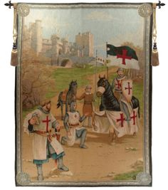 Templars is a French woven jacquard wall tapestry depicting the departure of The Templars to the Holy Crusades. The Knights Templar were a medieval religious military brotherhood. They were commonly k