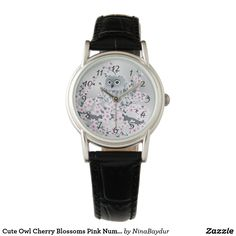 Cute Owl Cherry Blossoms Pink Numbers Watch