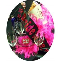 Gift includes - 	Brown Brothers Sparkling Moscato Rosa l 	Cadbury Dairy Milk Block 	250ml wine glasses 	Bride to Be Sash 	Bride to Be Garter 	Feather Boa 	Adult Straws 	Pin the Junki on the Hunk game 	Hens Night Action Spinner game Presented in gift wrapped stemmed glass serving bowl $129.95  #hensparty #bride #wedding #love #party www.astylishcelebration.com.au