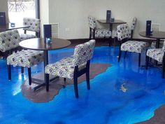 Ocean, Water, Fish, Leaves Stenciled Concrete Floor for Hotel | Denver