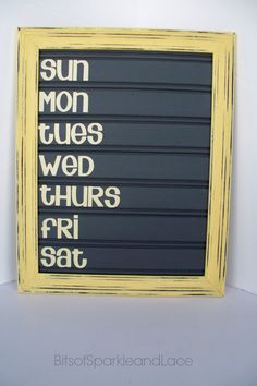 Chalkboard Menu Board made with Bead Board - Buttercup Yellow/Grey