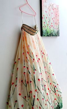 Looking for cherry blossom print lehenga with waist belt? Browse of latest bridal photos, lehenga & jewelry designs, decor ideas, etc. on WedMeGood Gallery. Indian Look, Indian Ethnic Wear, Indian Style, Indian Dresses, Indian Outfits, Pakistani Dresses, Haldi Ceremony, Ceremony Dresses, Indian Bridal Wear