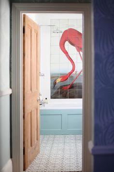 via Patchwork Harmony blog via http://pinterest.com/farrowball/charlie-s-bathroom/ Flamingo print tiles by Surface View http://www.surfaceview.co.uk/