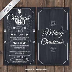 Christmas menu on blackboard Free Vector