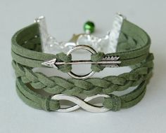 I love this! Silver BOW and Arrow / Infinity Charm Bracelet  Sage by BeMyCharm, $10.99