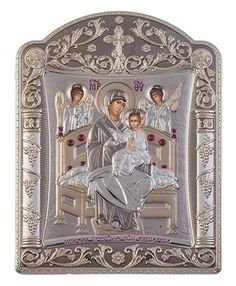 Virgin Mary Pantanassa - Greek Orthodox Silver Icon, Grey 22.7x30.5cm