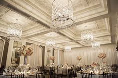 Waldorf Astoria Chicago Wedding Reception Photos. Wedding Pictures by Chicago Wedding Photographer: Nakai Photography. Peonies, roses centerpiece by Vale of Enna www.nakaiphotography.com