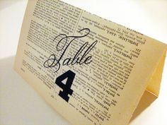 Custom Wedding Table Number, Wedding Tented Card on salvaged book page on Etsy, $5.00