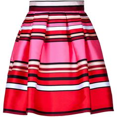 ALBERTA FERRETTI Striped Silk-Blend Flared Skirt (730,760 KRW) ❤ liked on Polyvore featuring skirts, saias, bottoms, faldas, alberta ferretti, skater skirt, red flared skirt, red stripe skirt, striped skirt and red skirt