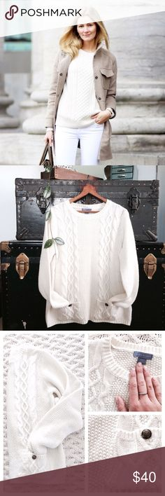 🆕 Listing! Cable knit white pocket cozy sweater Blogger fall favorite! This sweater is in like new condition. Super soft and comfortable! Cream coloring with chunky cable knit material. Size large...true to size, but also would be SUPER cute oversized! 100% acrylic. Bust 20 inches. Length 24 inches. Laura Scott Sweaters Crew & Scoop Necks