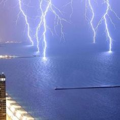 Simultaneous lightening strikes.