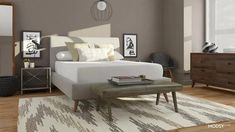 Neutral MCM bedroom with tapered leg bench Mid Century Bed, Mid Century Modern Bedroom, White Upholstered Bed, Airy Bedroom, End Of Bed Bench, Retro Living Rooms, Design Your Bedroom, Contemporary Bedroom, Bedroom Modern