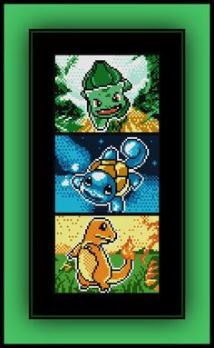 Free Kanto Starter Pokemon Cross Stitch Pattern Bulbasaur, Squirtle, and Charmander