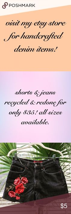 custom denim shorts & jeans for only $35! shorts & jeans redone with patches & distressing only 35! multiple styles and sizes available. website link in bio! brands include: levi's, tommy hilfiger, ralph lauren, dkny and others! vintage, repurposed, highwaisted, mom jeans, etsy Levi's Jeans