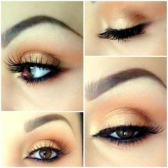 Peach & gold Makeup for brown eyes