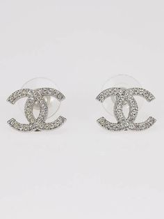 Chanel Classic Swarovski Crystal CC Logo Earrings  Have. Love.