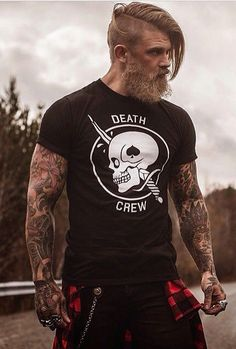 Power manly style inked beard