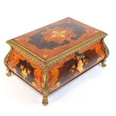 Vintage Large Sorrento Ware Reuge Music Box, Artist signed