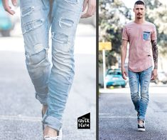 light optics detailed denim paired with dusty pink T-shirt