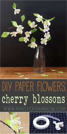 Easy and beautiful DIY Paper Cherry Blossom Branches, great for any style of home from vintage, country to modern!  - A Piece Of Rainbow
