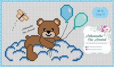Baby Cross Stitch Patterns, Cross Stitch For Kids, Cross Stitch Baby, Cross Stitch Charts, Baby Knitting Patterns, Cross Stitch Designs, Cross Stitching, Cross Stitch Embroidery, Crochet Baby Mobiles