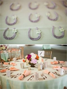 horseshoe escort cards #horsethemedwedding #mintwedding #weddingchicks http://www.weddingchicks.com/2014/01/02/horse-racing-wedding/