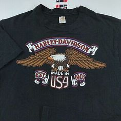 Great for Vintage Harley Davidson Of Glendale T-Shirt M L Made In USA Eagle Graphic Fashion Mens shirt from top store Usa Shirt, Vintage Harley Davidson, Vintage 70s, Eagle, Graphic Sweatshirt, Sweatshirts, How To Make, Mens Tops, Clothes