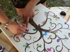 """Alternative to a guest book for """"Love Bird"""" themed wedding!  Each of us can put a thumbprint!"""