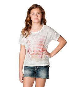 Look at this Off-White & Pink Floral American Flag Tissue Tee on #zulily today! #MissMe