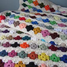 Colorful Woven Crochet Blanket Eyelet Flowers