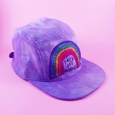 Tell those wall flowers to fck off. Painted Hats, Hand Painted, Rainbow Badge, 5 Panel Cap, Rainbow Print, Bad Hair Day, Joes Jeans, Vintage Denim, Snapback