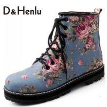 {D & H} Plus Size34-43 Zapatos de Marca de Mezclilla de Impresión de Las Mujeres Cordones de Martin Botas de Otoño Invierno de Las Mujeres Botas Cortas Zapatos Calientes de la Mujer Azul(China (Mainland))